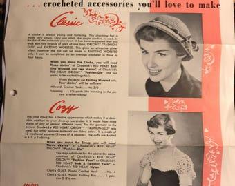 Hat and shrug crotchet patterns, 1945