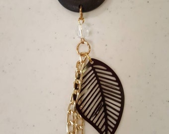 Brown and gold leaf and chain purse charm