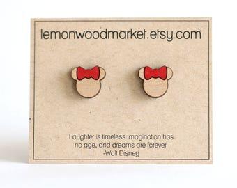 Minnie mouse earrings - alder laser cut wood earrings - minnie earrings - disney earrings