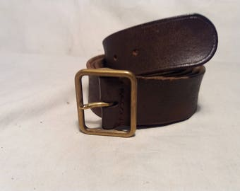 Vintage  Swiss Army Dark Brown Leather Officer's Belt
