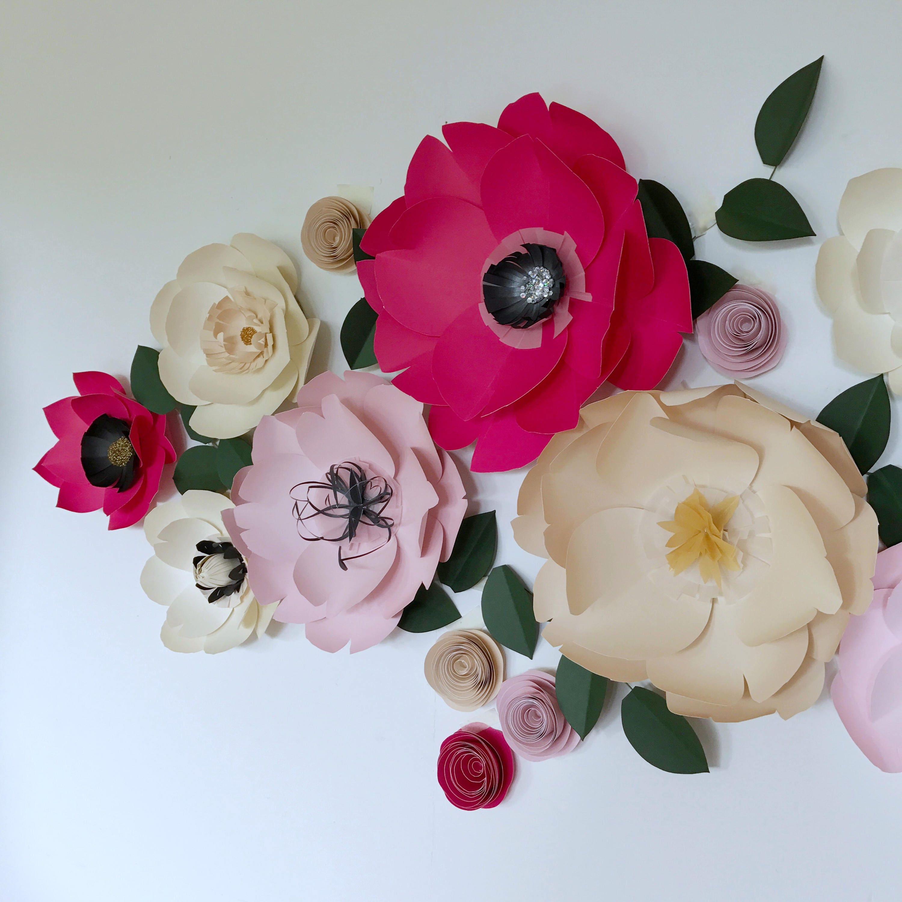 Large paper flowers bright pink flower nursery wall decor giant large paper flowers bright pink flower nursery wall decor giant cream paper flowers party backdrop wedding shoot newborn photography props mightylinksfo Choice Image