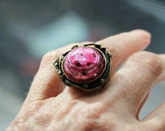 Ring bronze, Murano glass, adjustable, BlackBerry, pink, finger jewelry, finger ring, adjustable,.