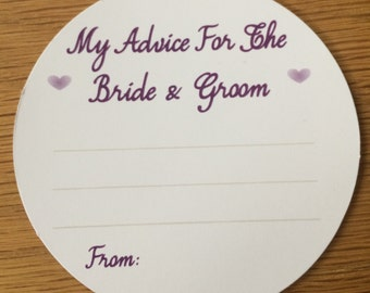 Wedding Advice Coasters Bride and Groom Advice - Purple text  on White Card KP001 PR/WT