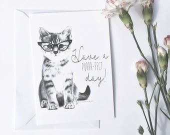 Cat Birthday Card | Cat lady, funny cat card, cute cat card, cat illustration, cat wearing glasses, have a purfect day, happy birthday card