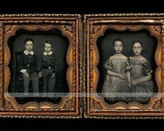 Double 1/6 Daguerreotype Set Beautiful Siblings <> Possible Hawaii Photographer