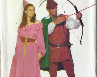 Robin Hood and Maid Marian costumes pattern in Misses' and Men's sizes  Butterick 5749 UNCUT & FF (1991) K1072