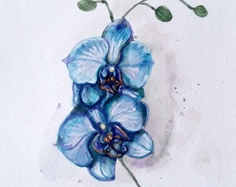Original Water color painting, Blue Orchard Flower, 1610044
