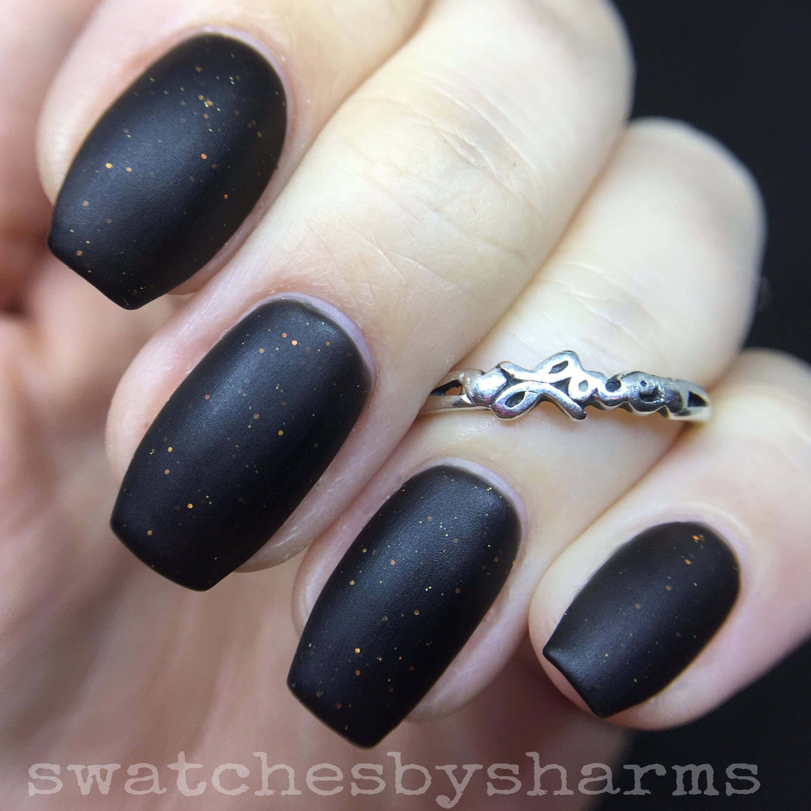 Black Matter Nail Polish matte black with orange glitter vegan