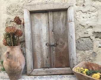 Primitive Vintage Old Wood Window Shutter ,Antique Wood Door,Decorative Doors