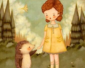 Art for Kids - Hello Mr Hedgehog Print 5x7 / 6x8 - Art for Girls Room, Kids Wall Art, Nursery Art, Kids Decor, Wall Art for Nursery, Baby