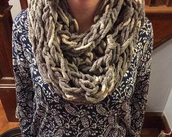 Gray & White Arm Knit Infinity Scarf
