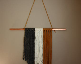 Yarn and Copper Wall Tapestry