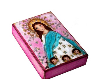 Immaculate Conception with Angels -  Giclee print mounted on Wood (4 x 5 inches) Folk Art  by FLOR LARIOS