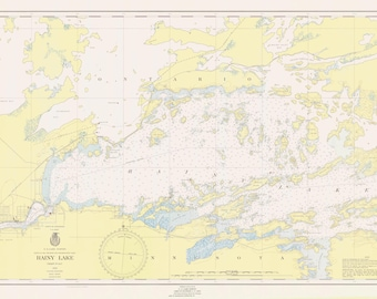 Rainy Lake Map - International Falls to Dryweed Island - Boundary Waters - 1952