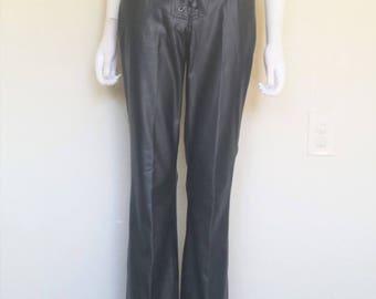 Lace up Black Pleather Pants