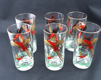 Vintage Pheasant Glassware Tumbler with Golden Detail. Set of 6 Glasses.