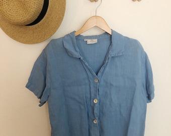 Vintage baby blue linen blouse