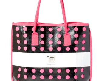 Recycled shopping tote style handbag in Pink and Black - Eco Friendly