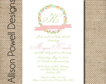 Monogram - It's a Girl - Baby Shower - Sip and See Invitations