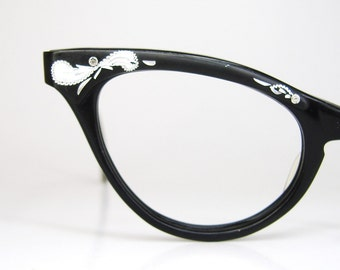Vintage Womens 50s Black Cat Eye Eyeglasses Frame