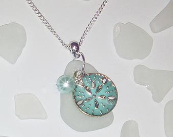Sand dollar necklace -  sea glass necklace - beach glass jewelry  - beach gift.