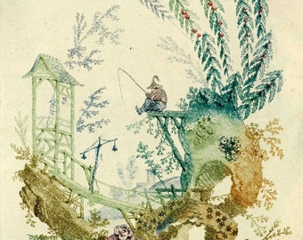 fisherman and roses chinoiserie illustration antique french wallpaper idigital download