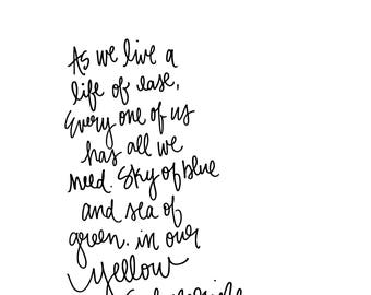 Yellow Submarine - Hand-lettered Beatles lyrics - instant digital download - printable wall decor