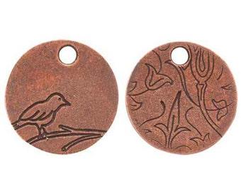 Bird On Branch, small COPPER Tag, 20x20x1.5mm, by Nunn Designs. NDBBCT