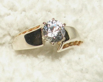 14k Genuine White Sapphire with Yellow Sapphire Accents
