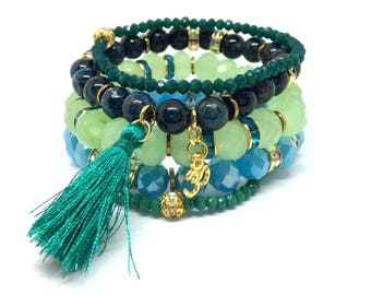 Stacking bracelets, boho bracelet set, apatite bracelet, apatite stacking, blue stacking bracelet, blue bracelet set, bracelet set