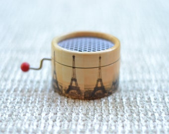 Amelie Music Box Eiffel Tower. Hand Cranked Music Box.