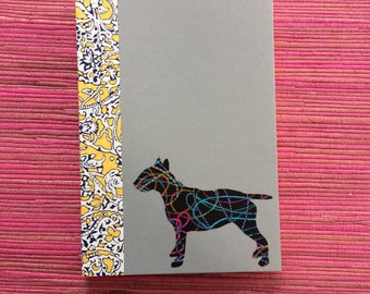 English Bull Terrier Doggy Tales Notebook in Liberty London Art Fabric