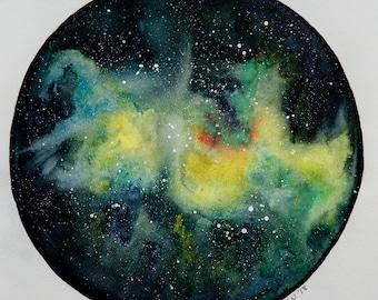 Original Framed Watercolor Nebula Painting