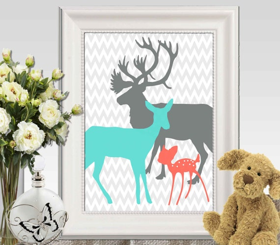 Coral Turquoise Gray Boy Girls Bedroom Decor Print Deer Family
