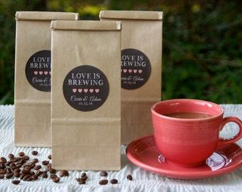 12 Brown Kraft Favor Bags - Coffee Favor Bags - Personalized Favors - Bridal Shower Favors - Coffee Favor - Love Is Brewing - Wedding Favors