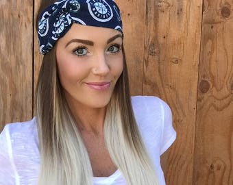 Seattle Mariners Vintage Style Turban Headband || Hair Band Baseball Accessory Cotton Workout Yoga Fashion Navy Blue White Head Scarf Girl