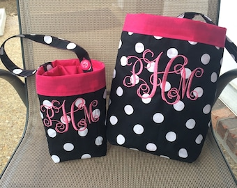 Car trash bag  and cell phone caddy -Custom made in any color or print - Black and white polka dots