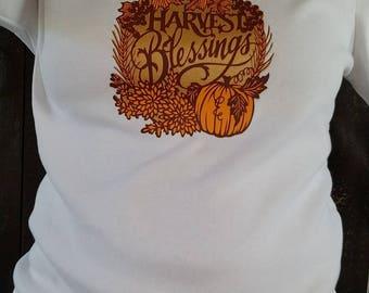 Harvest blessings women's long sleeve shirt. Fall shirt. Thanksgiving shirt.