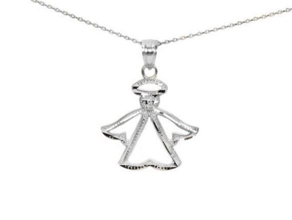14k white gold angel pendant necklace with diamond cut finish aloadofball Image collections