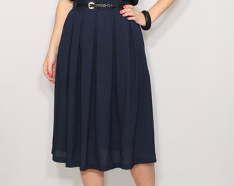 Navy chiffon skirt Midi skirt Navy skirt Women skirt Chiffon skirt High waisted skirt with pockets