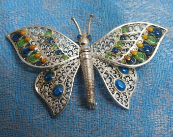 stunning sterling silver filigree and enamel articulated Plique-à-jour butterfly brooch,sterling and enamel brooch,enamel jewelry,OOAK