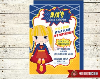 Super Girl Invitation, Super GIRL Birthday Invitation, SuperGIRL, SUPERHERO Birthday Invitation, Party, Costume, Super hero, Halloween