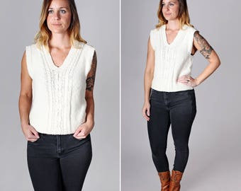 Vintage Cream Cable Knit Sweater - Top Shirt Knit Pull Over Womens Short Sleeve 1970's 70's White Ivroy V Neck Vest Rib Knit - Size Small