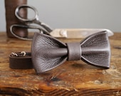Leather Bow Tie - Espresso Brown Real Leather Bow Tie - Wedding Bow Tie - Dickie Bow - Groomsmen Bow Tie - Dark Brown