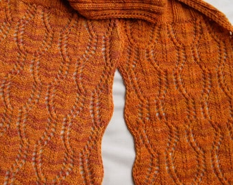 Knit Scarf Pattern:  Bordered Leaf Lace Knitted Scarf Pattern