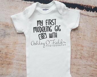 Modeling Gig Photography Client Gift, Photographer Onesie®, Newborn Girl Gift, Newborn Boy Gift, Photo Prop, Newborn Photography Prop