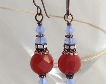 Carnelian agate and Swarovski earrings