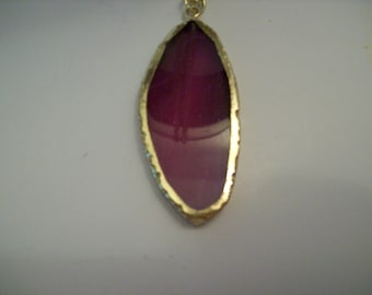 Pink Agate Necklace Gold Electroplate Foil around Edges Textured Gold Color Nichol Free 28 Inch Chain