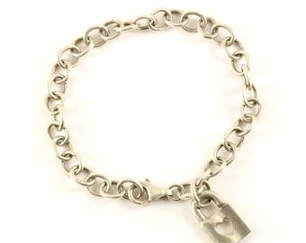 Vintage Heart Lock Love Charm Bracelet 925 Sterling BR 130
