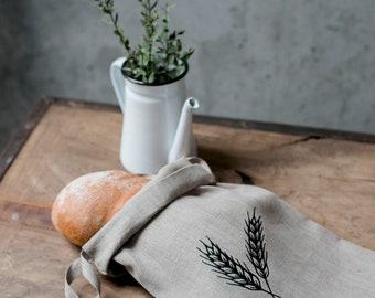 Embroidered natural linen bread bag, linen bag, drawstring bag, storage bag, natural linen, reusable, zero waste storage, linen bread bag